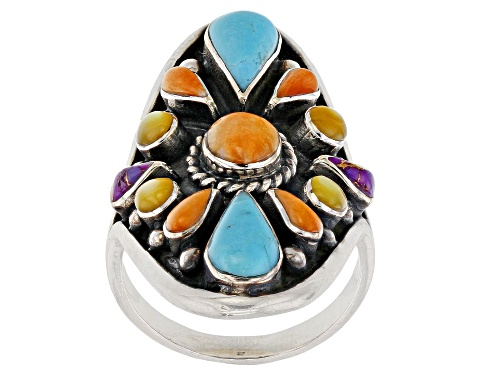 Photo of Southwest Style By Jtv™ Turquoise, Mother Of Pearl, And Spiny Oyster Shell Sterling Silver Ring - Size 5
