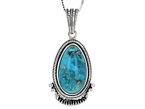 Photo of Southwest Style By Jtv™ 21x12mm Pear Shape Cabochon Turquoise Sterling Silver Pendant With Chain