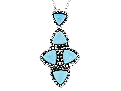 Photo of Southwest Style By Jtv™ Triangle Sleeping Beauty Turquoise Sterling Silver Slide With Chain