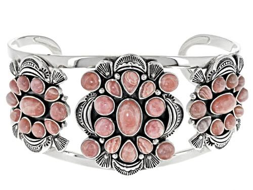 Photo of Southwest Style By Jtv™ Pear Shape, Oval And Round  Rhodochrosite Sterling Silver Cuff Bracelet - Size 7.5
