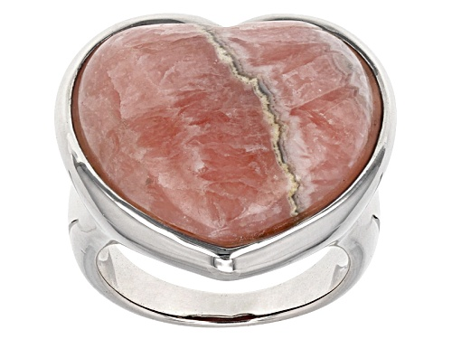 Photo of Southwest Style By Jtv™ 20mm Heart Shape Cabochon Rhodochrosite Sterling Silver Ring - Size 5
