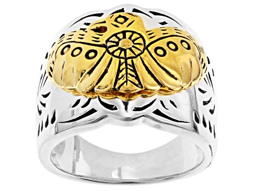 Photo of Southwest Style By Jtv™ Sterling Silver And 18k Yellow Gold Over Silver Eagle Two-Tone Band Ring - Size 5