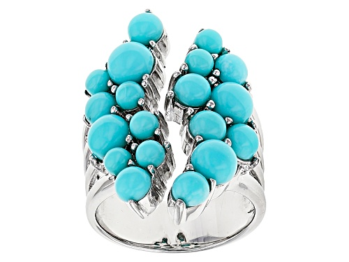 Photo of Southwest Style By Jtv™ 3mm, 4mm And 5mm Round Cabochon Blue Turquoise Sterling Silver Ring - Size 7