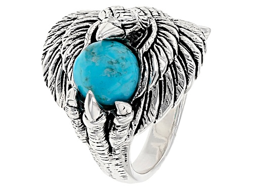 Photo of Southwest Style By Jtv™ 7mm Round Blue Turquoise Sterling Silver Eagle Ring - Size 5