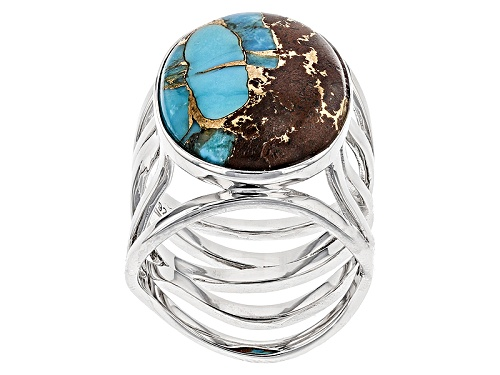 Photo of Southwest Style By Jtv™ 20x15mm Oval Blue Mohave Kingman Turquoise With Matrix Silver Ring - Size 6