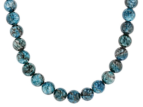 Photo of Southwest Style By Jtv™ 10mm Round Blue Apatite Strand Sterling Silver Bead Necklace - Size 18