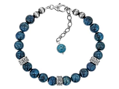 Photo of Southwest Style By Jtv™ 8mm Round Blue Apatite Sterling Silver Bracelet Strand - Size 7.5
