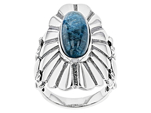 Photo of Southwest Style By Jtv™ 17x7mm Oval Cabochon Blue Apatite Sterling Silver Solitaire Ring - Size 7