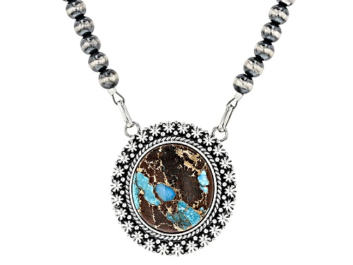 Photo of Southwest Style By Jtv™ 26x24mm Oval Blue Mohave Kingman Turquoise W/Matrix Silver Bead Necklace - Size 18