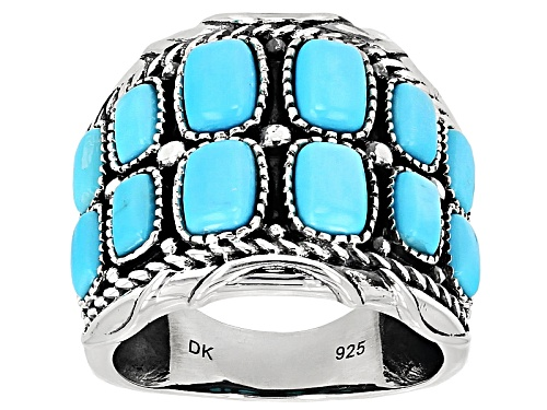Photo of Southwest Style By Jtv™ 6x4mm And 5x3mm Cushion Sleeping Beauty Turquoise Silver Band Ring - Size 6