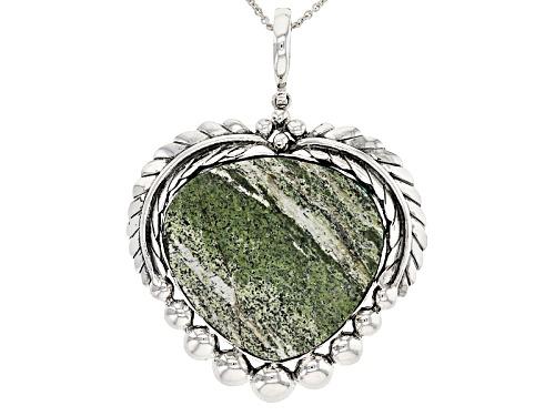 Photo of Southwest Style by JTV™ heart shape green zebra jasper sterling silver enhancer with chain