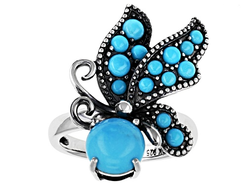 Photo of Southwest Style by JTV™ round cabochon turquoise sterling silver butterfly ring - Size 7