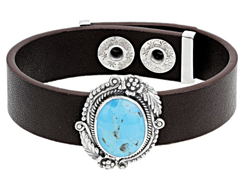 Photo of Southwest Style by JTV™ 16x12mm oval cabochon turquoise sterling silver and faux leather bracelet