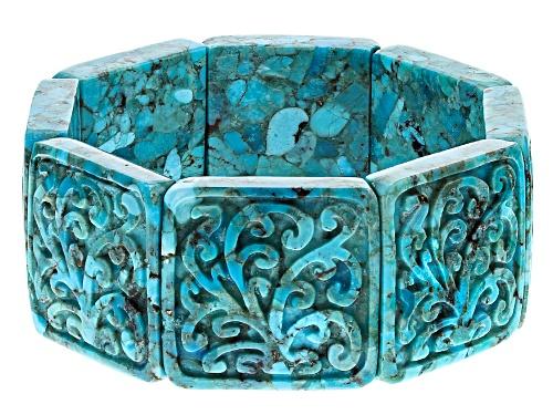 Photo of Southwest Style by JTV™ carved turquoise stretch bracelet - Size 8