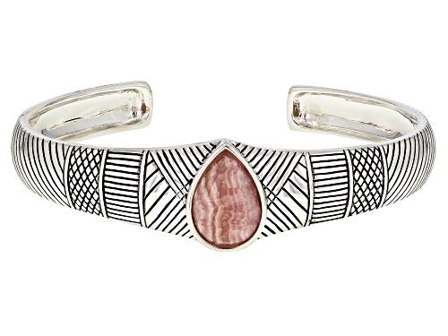 Photo of Southwest Style by JTV™ 16x11mm pear shape cabochon rhodochrosite sterling silver cuff bracelet - Size 8