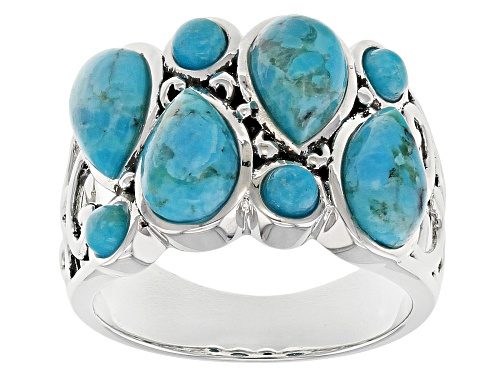 Photo of Southwest Style by JTV™ 3mm round and 8x6mm pear shape turquoise sterling silver band ring - Size 5