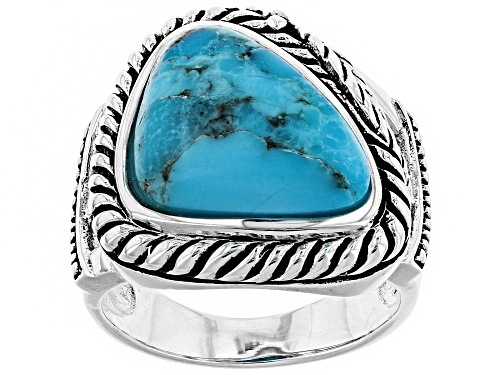 Photo of Southwest Style by JTV™ 16x12mm  free-form cabochon turquoise sterling silver solitaire ring - Size 6