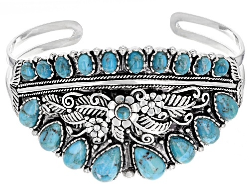 Photo of Southwest Style by JTV™ pear shape, oval and round turquoise sterling silver floral cuff bracelet
