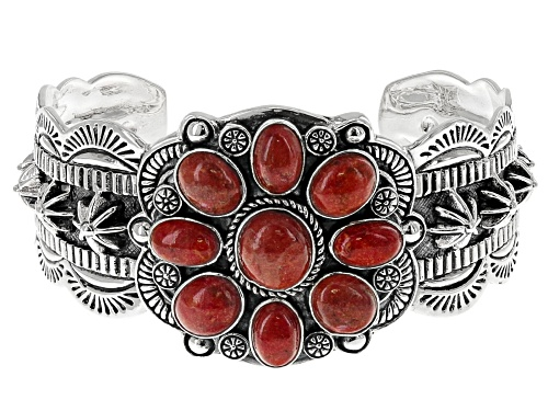 Photo of Southwest Style by JTV™ oval cabochon red Indonesian coral sterling silver cuff bracelet