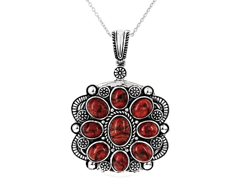 Photo of Southwest Style by JTV™ oval cabochon red Indonesian coral sterling silver enhancer with chain