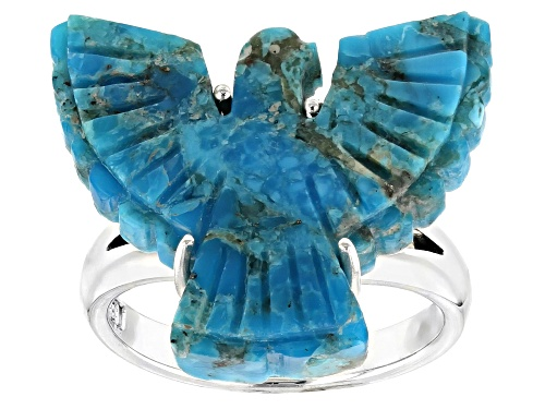 Photo of Southwest Style by JTV™ carved turquoise eagle sterling silver ring - Size 7