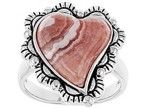 Photo of Southwest Style by JTV™ 15x13mm heart shape cabochon rhodochrosite solitaire sterling silver ring - Size 5