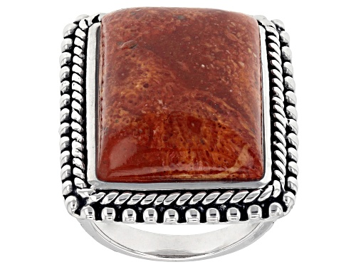 Photo of Southwest Style by JTV™ rectangle cabochon red sponge coral rhodium over sterling silver ring - Size 6