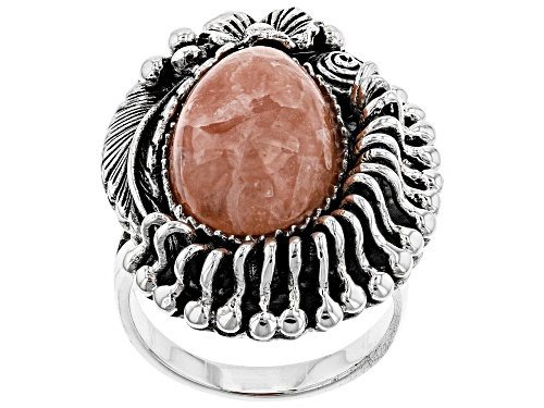 Photo of Southwest Style by JTV™ pear shape cabochon rhodochrosite sterling silver ring - Size 5