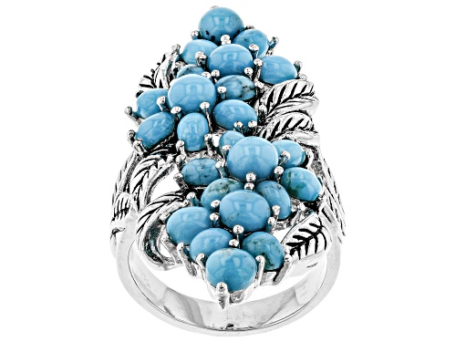Photo of Southwest Style by JTV™ 4mm round & 4x3mm oval Kingman turquoise rhodium over silver floral ring - Size 5