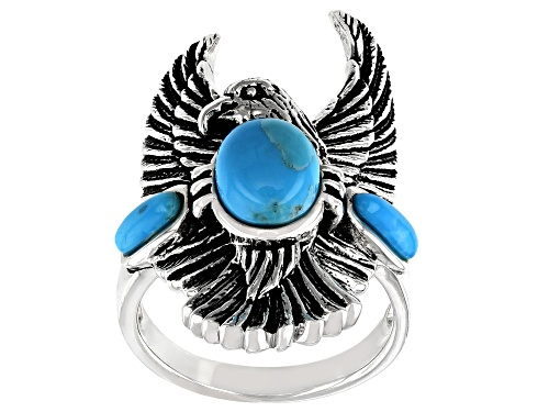 Southwest Style by JTV™ 8x6mm and 6x2mm oval cabochon turquoise sterling silver eagle ring - Size 5