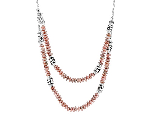 Photo of Southwest Style by JTV™ rondelle & round rhodochrosite bead, 2-strand silver station necklace - Size 18