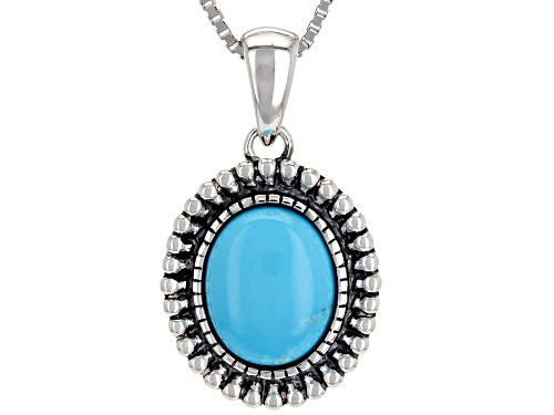 Photo of Southwest Style by JTV™ 10x8mm oval Sleeping Beauty turquoise sterling silver pendant with chain