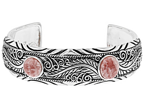 Photo of Southwest Style by JTV™ 12x10mm oval & 10mm round rhodochrosite sterling silver cuff bracelet - Size 8.5