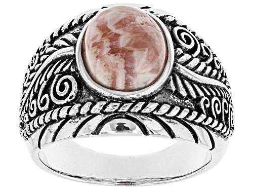 Photo of Southwest Style by JTV™ 10x8mm oval cabochon rhodochrosite solitaire sterling silver ring - Size 7