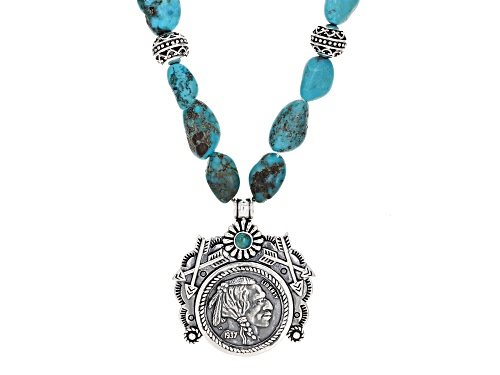 Photo of Southwest Style by JTV™ free-form and round turquoise sterling silver coin necklace - Size 18