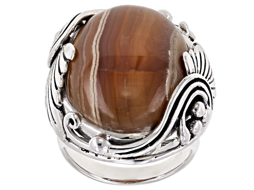 Photo of Southwest Style by JTV™ 25x18mm caramel rhodochrosite cabochon sterling silver solitaire ring - Size 8