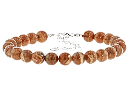 Photo of Southwest Style by JTV™ 8mm round caramel rhodochrosite bead strand rhodium over silver bracelet - Size 8
