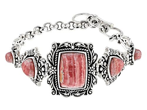 Photo of Southwest Style by JTV™ rectangular cushion, trillion & round rhodochrosite silver bracelet - Size 8