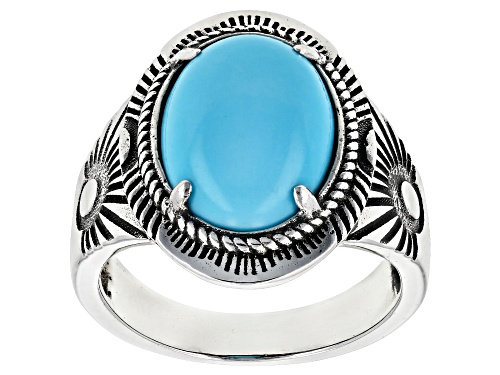 Photo of Southwest Style by JTV™ 14x10mm oval Sleeping Beauty turquoise rhodium over silver solitaire ring - Size 8