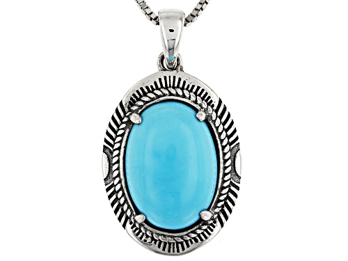 Photo of Southwest Style by JTV™14x10mm Sleeping Beauty turquoise rhodium over silver pendant w/chain