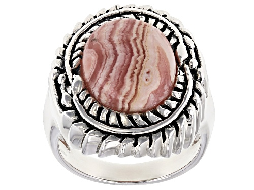 Photo of Southwest Style by JTV™ 14x11mm oval cabochon rhodochrosite solitaire sterling silver ring - Size 7