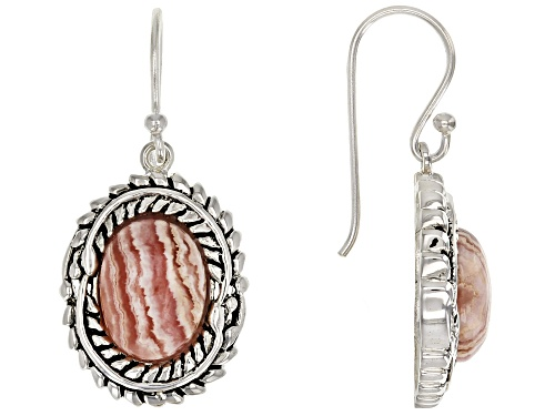 Photo of Southwest Style by JTV™ 12x9mm oval cabochon rhodochrosite sterling silver dangle earrings