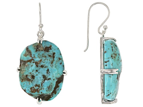 Southwest Style by JTV™ free-form turquoise rough sterling silver dangle earrings