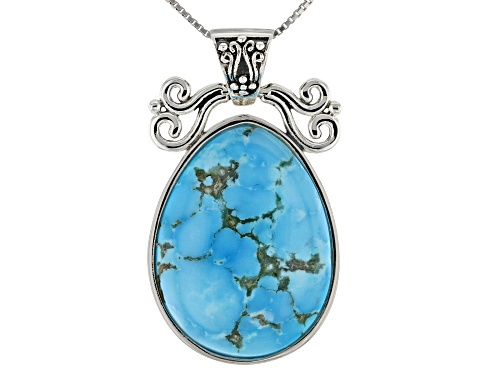 Photo of Southwest Style by JTV™ 28x21mm pear shape Kingman turquoise sterling silver pendant with chain
