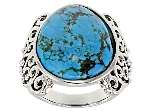 Photo of Southwest Style by JTV™ 20x16mm pear shape Kingman turquoise sterling silver solitaire ring - Size 7