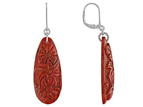Photo of Southwest Style by JTV™ 31x15mm pear shape  carved Indonesian red sponge coral silver earrings