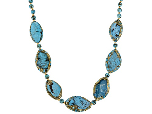 Photo of SOUTHWEST STYLE BY JTV(TM) MIXED MM FREE-FORM & 6MM ROUND TURQUOISE RHODIUM OVER SILVER NECKLACE - Size 18