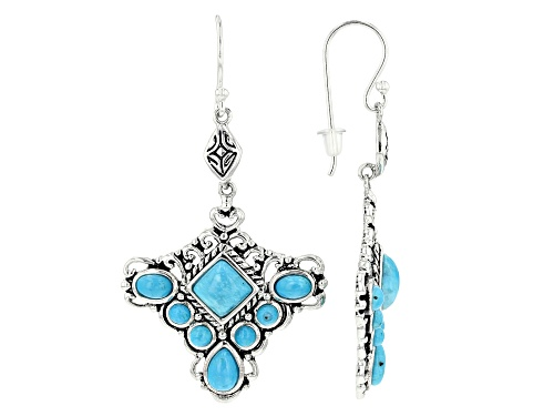 Photo of Southwest Style by JTV™ round, oval, pear shape & square Kingman turquoise silver dangle earrings