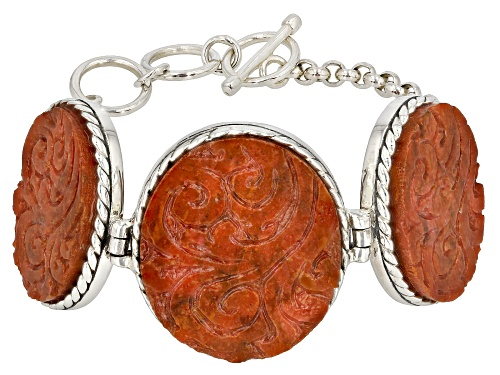 Photo of Southwest Style y JTV™ Oval Carved Indonesian Coral Sterling Silver Bracelet - Size 7