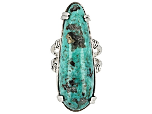 Photo of Southwest Style by JTV™ free-form turquoise sterling silver statement ring - Size 7
